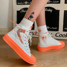 Women's Canvas Flat Heel Martin Boots With Lace-up shoes