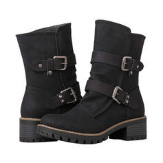 Women's PU Chunky Heel Martin Boots Round Toe With Buckle Zipper shoes