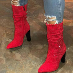 Women's Suede Chunky Heel Mid-Calf Boots Pointed Toe With Rhinestone shoes
