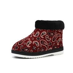 Women's Suede Flat Heel Snow Boots Round Toe With Animal Print Splice Color shoes