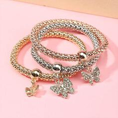 Shining Boho Round Layered Alloy With Butterfly Bracelets 3 PCS