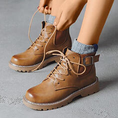 Women's PU Flat Heel Boots Round Toe With Buckle Lace-up shoes