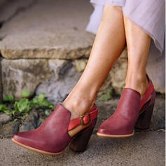 Women's Leatherette Chunky Heel Boots Ankle Boots Pointed Toe With Buckle shoes