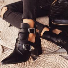 Women's PU Chunky Heel Heels Pointed Toe With Buckle Hollow-out shoes