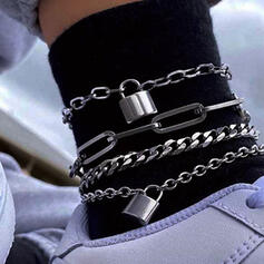 Locks Shaped Link & Chain Layered Alloy Anklets (Set of 4)