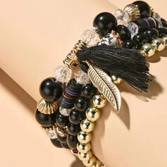 Unique Elegant Tassels Design Alloy Resin Cotton String Beads With Tassels Acrylic Resin Rhinestones Leaf Beads Women's Bracelets 4 PCS
