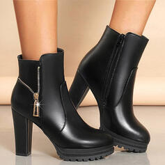 Women's PU Chunky Heel Ankle Boots Low Top With Zipper Solid Color shoes