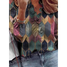 Geometric Print V-Neck Long Sleeves Casual Blouses