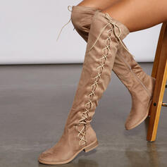 Women's Suede Low Heel Over The Knee Boots Riding Boots With Ruched Lace-up Solid Color shoes
