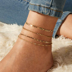 Simple Cool Alloy Anklets 4 PCS