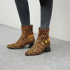 Women's Suede Chunky Heel Mid-Calf Boots Pointed Toe With Buckle Zipper shoes