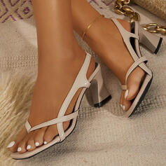 Women's PU Chunky Heel Sandals Slingbacks Flip-Flops Low Top With Solid Color shoes