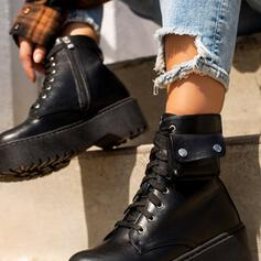 Women's Low Heel Martin Boots Round Toe With Rivet Zipper Lace-up Solid Color shoes