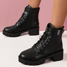 Women's PU Chunky Heel Boots Ankle Boots Martin Boots With Lace-up Solid Color shoes