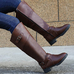 Women's PU Chunky Heel Boots Knee High Boots Heels With Buckle Zipper Solid Color shoes