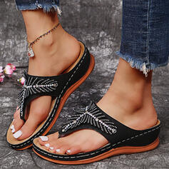 Women's PU Wedge Heel Sandals Wedges Peep Toe Flip-Flops Slippers With Hollow-out Splice Color shoes