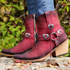 Women's PU Chunky Heel Mid-Calf Boots Round Toe With Buckle Zipper shoes