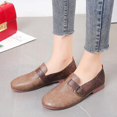 Women's Leatherette Flat Heel Flats Low Top Loafers With Buckle shoes
