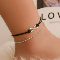 Infinity Hottest Alloy Leather Rope Anklets (Set of 2)
