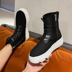 Women's Canvas Flat Heel Mid-Calf Boots With Lace-up Solid Color shoes