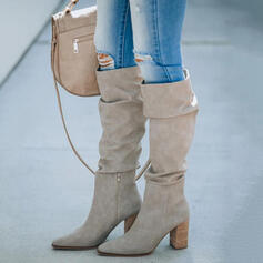 Women's Suede Chunky Heel Boots Knee High Boots Heels With Zipper Solid Color shoes