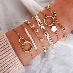 Charming Fancy Artistic Delicate Layered Alloy Bracelets 6 PCS