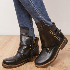 Women's PU Chunky Heel Boots Ankle Boots Mid-Calf Boots With Lace-up Solid Color shoes