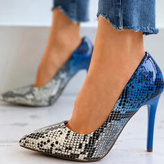Women's PU Stiletto Heel Pumps Pointed Toe With Animal Print Splice Color shoes
