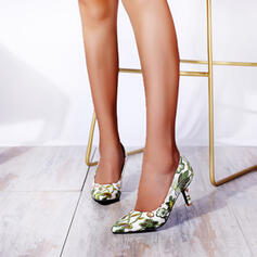 Women's PU Stiletto Heel Pumps Pointed Toe With Hollow-out Flower Colorblock shoes