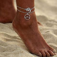 Boho Wave Alloy With Tag Anklets (Set of 2)