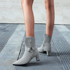 Women's Leatherette Chunky Heel Mid-Calf Boots Heels Pointed Toe With Zipper Solid Color shoes