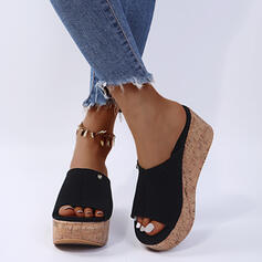 Women's PU Wedge Heel Sandals Wedges Slippers With Rivet shoes