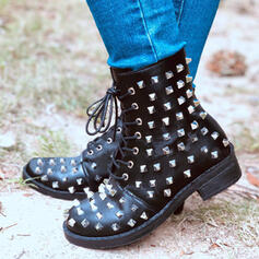 Women's Microfiber Low Heel Mid-Calf Boots Martin Boots Round Toe With Rivet Lace-up shoes