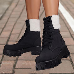 Women's PU Chunky Heel Mid-Calf Boots Martin Boots Round Toe With Lace-up Colorblock shoes