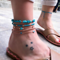 Boho Link & Chain Layered Intertwined Alloy With Zircon Anklets 5 PCS