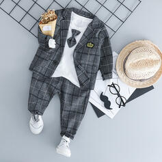 3-pieces Baby Boy Bow Plaid Cotton Set
