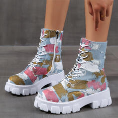 Women's Canvas Low Heel Martin Boots Round Toe With Lace-up Splice Color shoes