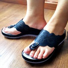 Women's Leatherette Wedge Heel Sandals Flip-Flops Slippers With Hollow-out shoes