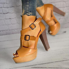 Women's PU Chunky Heel Sandals Pumps Platform Peep Toe With Buckle Hollow-out Solid Color shoes