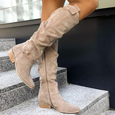Women's Suede Chunky Heel Winter Boots With Zipper Solid Color shoes
