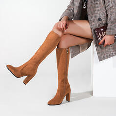 Women's Suede Chunky Heel Knee High Boots Round Toe With Zipper Solid Color shoes