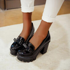 Women's PU Chunky Heel Pumps Round Toe With Bowknot shoes