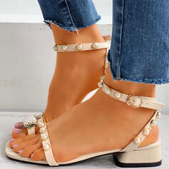 Women's PU Low Heel Sandals Peep Toe Low Top Toe Ring With Imitation Pearl Buckle shoes