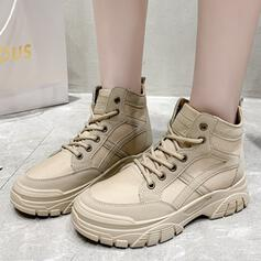 Women's Leatherette Cloth Canvas Nylon Flat Heel Boots High Top Round Toe Sneakers Snow Boots With Solid Color shoes