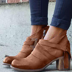 Women's Suede Chunky Heel Pumps Boots Ankle Boots Round Toe With Zipper shoes