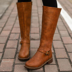 Women's PU Chunky Heel Riding Boots With Buckle Zipper Solid Color shoes