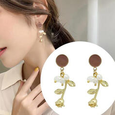 Beautiful Alloy Imitation Pearls With Rose Earrings (Set of 2)