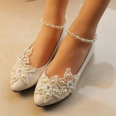 Women's Patent Leather Cone Heel Closed Toe Pumps With Imitation Pearl Rhinestone Stitching Lace
