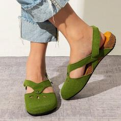 Women's Suede Leatherette Flat Heel Flats Low Top Loafers With Hollow-out shoes