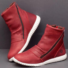 Women's PU Flat Heel Ankle Boots Round Toe With Zipper Solid Color shoes